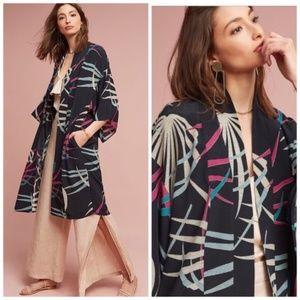 ANTHRO Kira Long Kimono Jacket Palm Print XS S